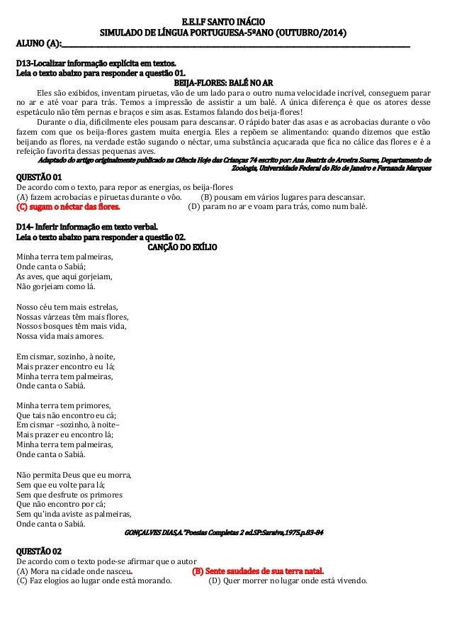 E.E.I.F SANTO INÁCIO  SIMULADO DE LÍNGUA PORTUGUESA-5ºANO (OUTUBRO/2014)  ALUNO (A):______________________________________...