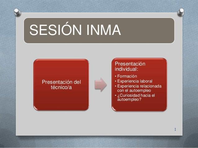 SESIÓN INMA Presentación del técnico/a Presentación individual: • Formación • Experiencia laboral • Experiencia relacionad...