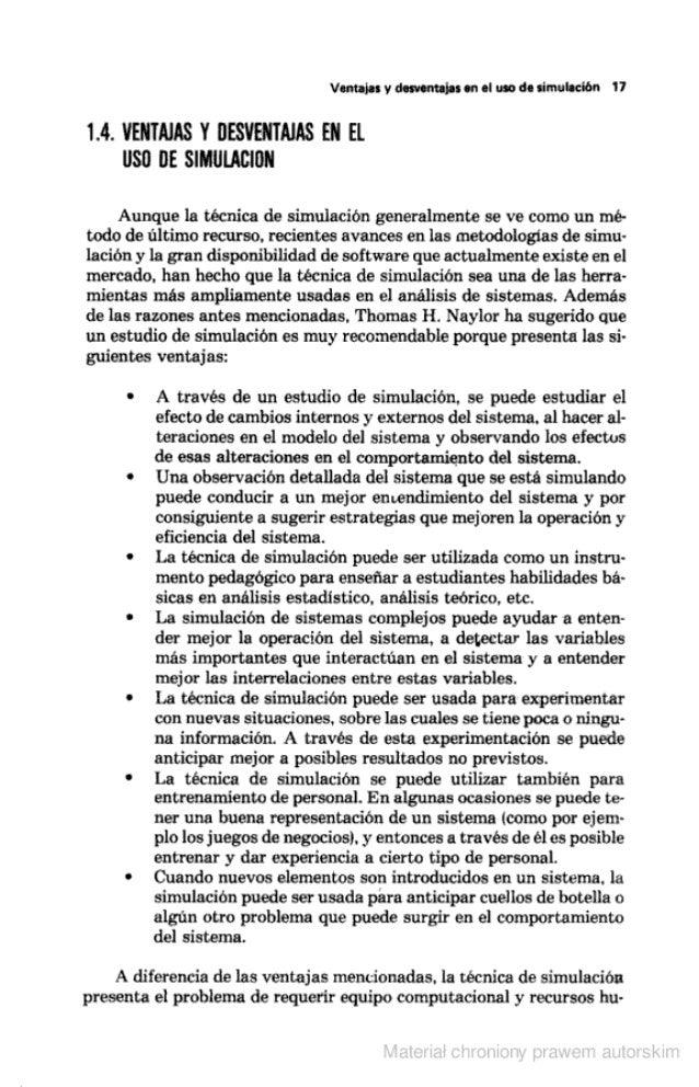 Ventalas y desventajas en el uso de simulación 17  1.4. VENTAJAS Y UESVENÏAJAS EN El USO UE SIMUIACIÜN  Aunque la técnica ...
