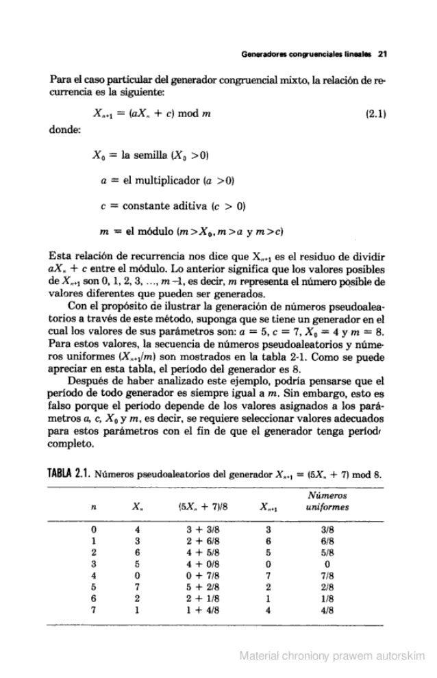 """Generadores congruencia! """" lineales 21  Para el caso particular del generador congruencia] mixto.  la relación de re- curr..."""