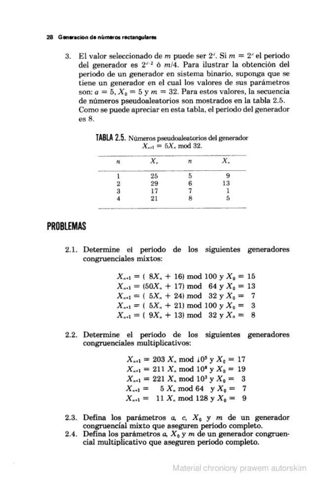 """28 Generacion de números roczanguiaru  3. El valor seleccionado de m puede ser 2"""".  Si m =  2' el periodo del generador es..."""