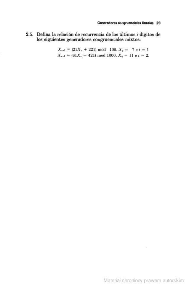 """Generadores congruencia! """" líneaies 29  2.5. Define la relación de recurrencia de los últimos i digitos de los siguientes ..."""