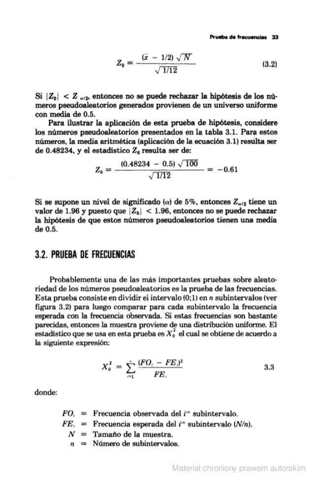 Prueba de frecuencias 33  (X - l/ Zl V-Ñ- zo =  -————— (3.2) x/  1712  Si | Zo1 < Z m.  entonces no se puede rechazar la h...