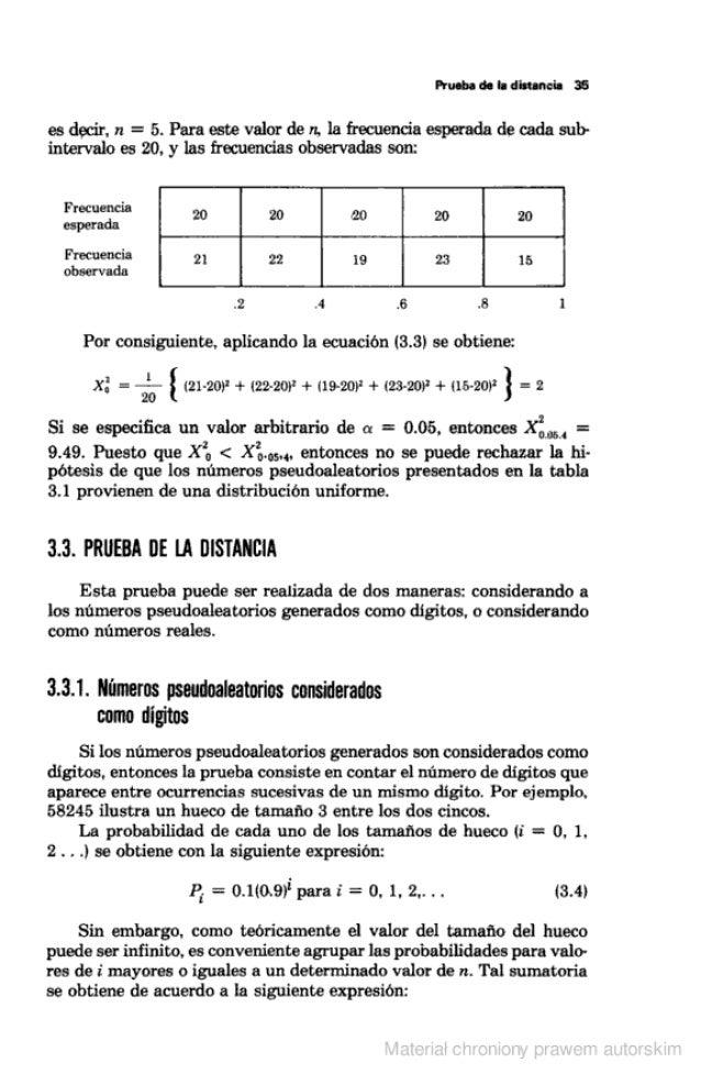 Prueba de la distancia ü  es decir,  n =  5. Para este valor de n.  la frecuencia esperada de cada sub- intervalo es 20. y...