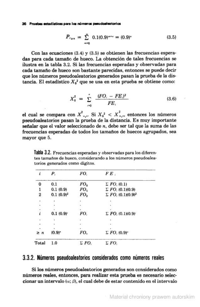 """36 Pruebas estadisticas para los números psoudoaïeatodes  n  Pa"""".  = Z 0.1(0.9l'""""' =  (0.9)' (3.5)  rav-o  Con las ecuacio..."""