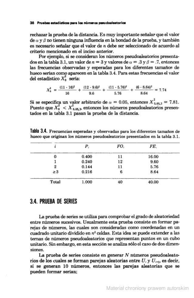 38 Pruebas estadisticas para los números psaudoaleatorioe  rechazar la pmeba de la distancia.  Es muy importante señalar q...