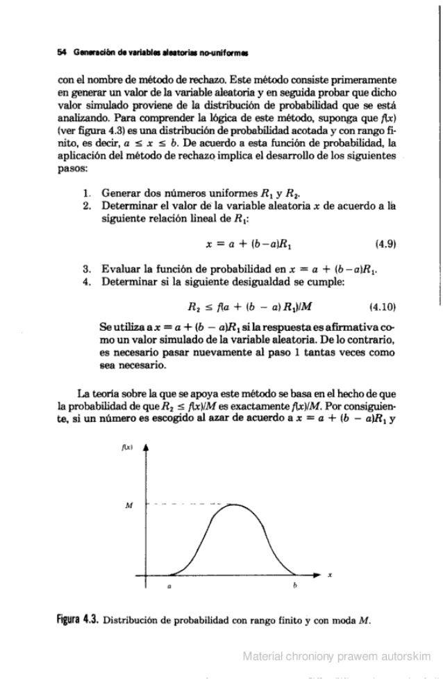 54 Generación de variables aleatoria:  tio-uniformes  con el nombre de método de rechazo.  Este método consiste primeramen...