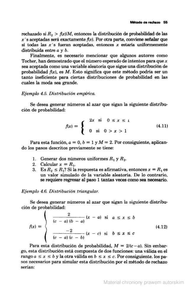 Método on racismo 56  rechazado si R,  > fin/ M, entonces la distribución de probabilidad de las x 's aceptadas será exact...