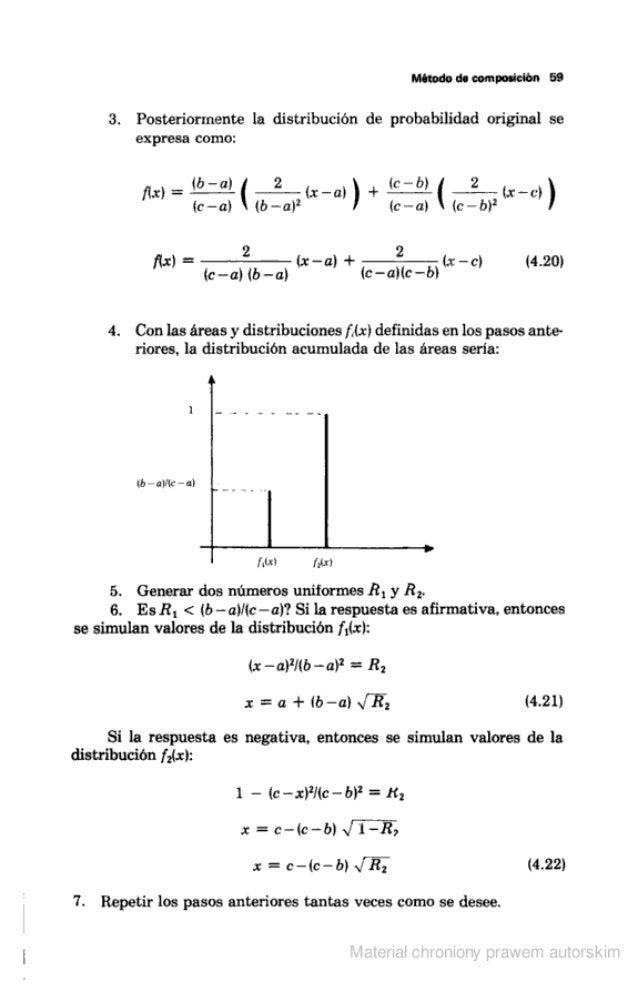 Método do composición 59  3. Posteriormente la distribución de probabilidad original se expresa como:            fix) =  w-...