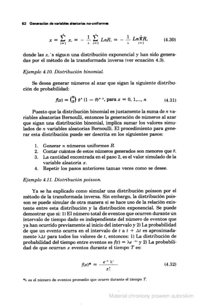 62 Generación de variables aleatorias mruniformas  I R  x =  2:' x.  = - —Ï- LnR. - =  — —l- Lníïllïa (4.30)  í= l x i'  d...