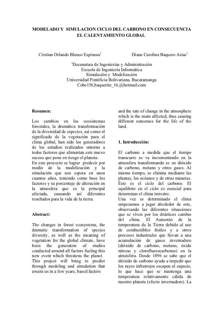 MODELADO Y SIMULACION CICLO DEL CARBONO EN CONSECUENCIA               EL CALENTAMIENTO GLOBAL   Cristian Orlando Blanco Es...