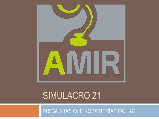 SIMULACRO 21 PREGUNTAS QUE NO DEBERÍAS FALLAR