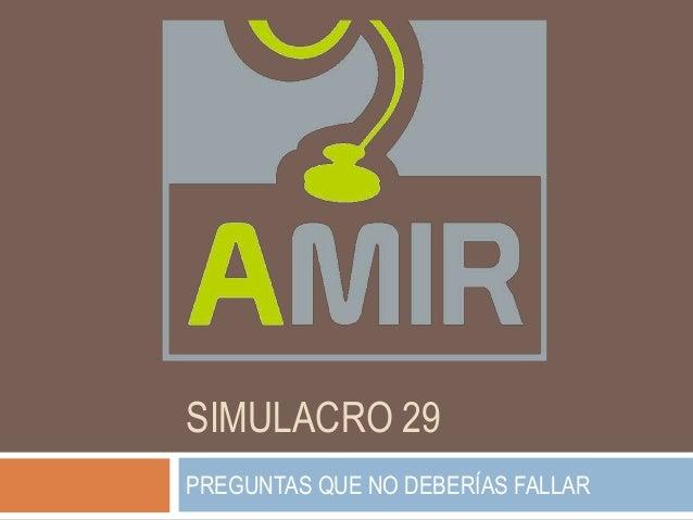 SIMULACRO 29 PREGUNTAS QUE NO DEBERÍAS FALLAR