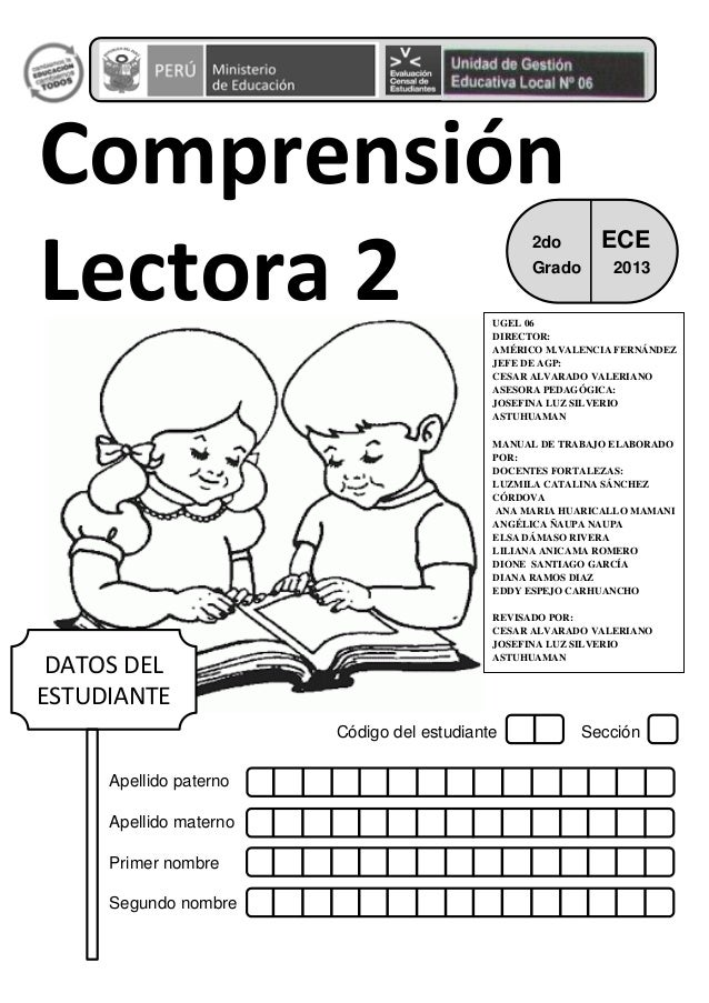 Código del estudiante Sección Apellido paterno Apellido materno Primer nombre Segundo nombre Comprensión Lectora 2 DATOS D...