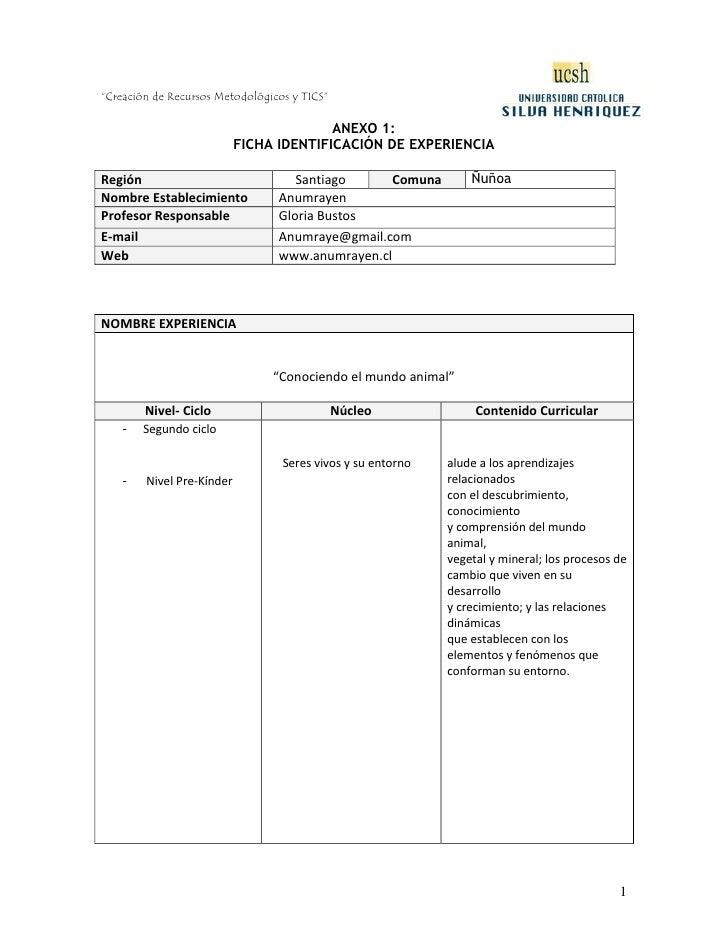 ANEXO 1:<br />FICHA IDENTIFICACIÓN DE EXPERIENCIA<br />RegiónSantiagoComunaÑuñoaNombre Establecimiento AnumrayenProfesor R...