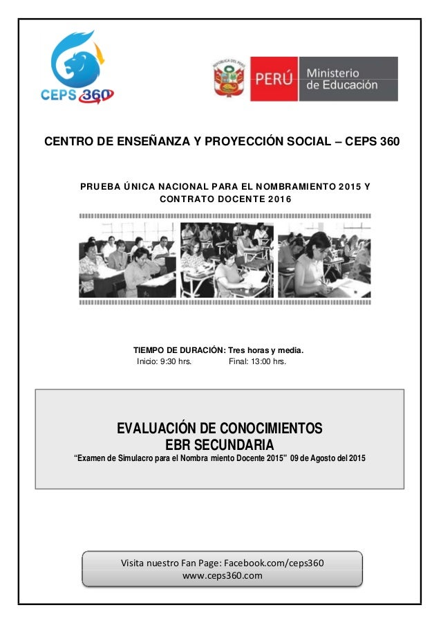 CENTRO DE ENSEÑANZA Y PROYECCIÓN SOCIAL – CEPS 360 PRUEBA ÚNICA NACIONAL PARA EL NOMBRAMIENTO 2015 Y CONTRATO DOCENTE 2016...