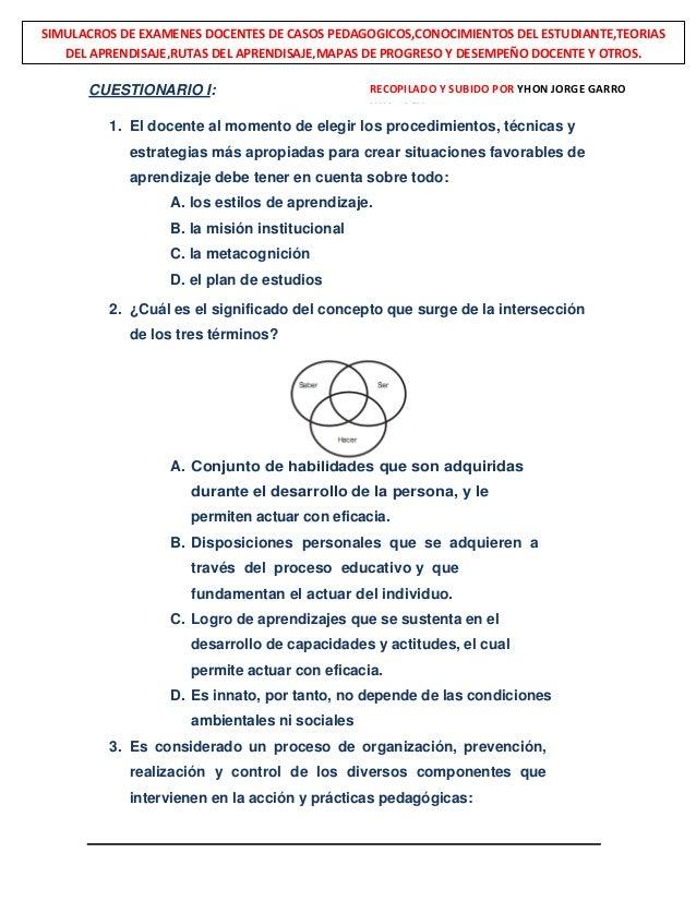 CUESTIONARIO I: 1. El docente al momento de elegir los procedimientos, técnicas y estrategias más apropiadas para crear si...