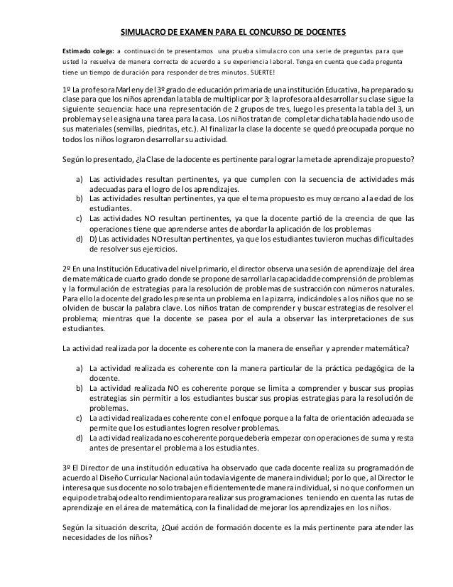 SIMULACRO DE EXAMEN PARA EL CONCURSO DE DOCENTES Estimado colega: a continuación te presentamos una prueba simulacro con u...