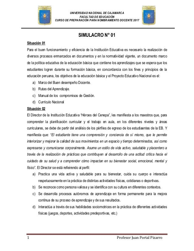 Simulacro de examen para nombramiento docente 2017 for Examen para plazas docentes 2017