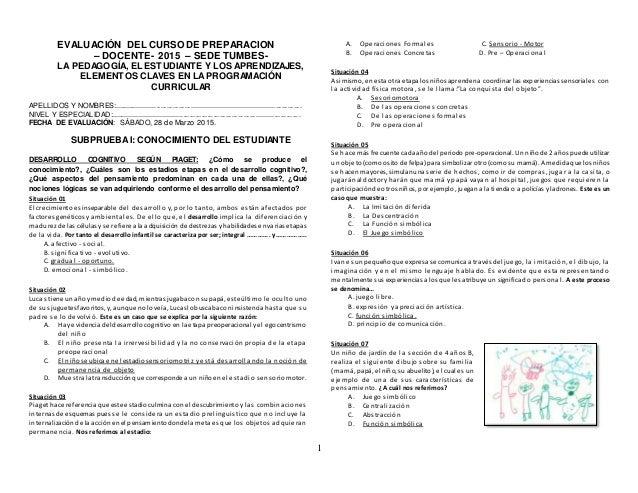 1 EVALUACIÓN DEL CURSO DE PREPARACION – DOCENTE- 2015 – SEDE TUMBES- LA PEDAGOGÍA, EL ESTUDIANTE Y LOS APRENDIZAJES, ELEME...