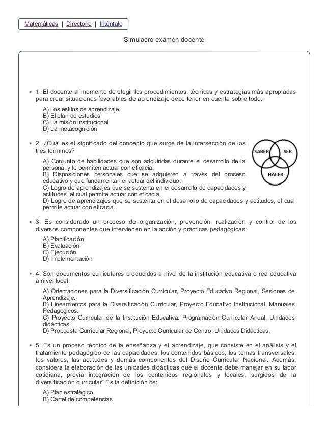 Simulacro examen docente online for Prueba docente 2016