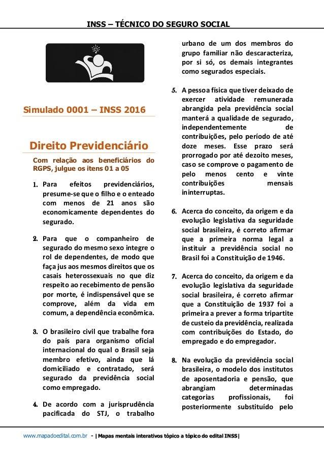 INSS – TÉCNICO DO SEGURO SOCIAL www.mapadoedital.com.br -  Mapas mentais interativos tópico a tópico do edital INSS  Simul...