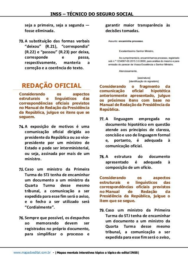 INSS – TÉCNICO DO SEGURO SOCIAL www.mapadoedital.com.br -  Mapas mentais interativos tópico a tópico do edital INSS  seja ...