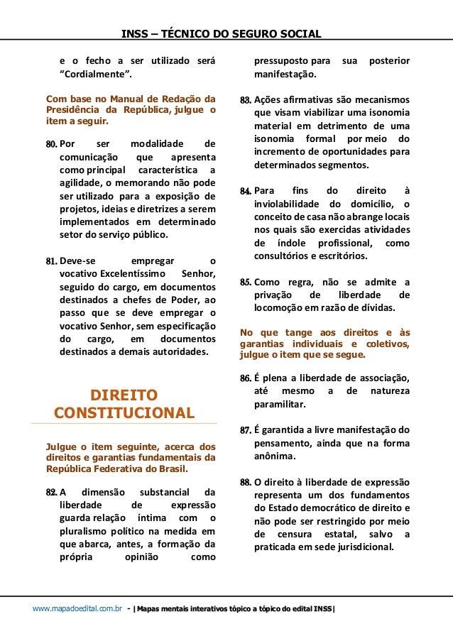 INSS – TÉCNICO DO SEGURO SOCIAL www.mapadoedital.com.br -  Mapas mentais interativos tópico a tópico do edital INSS  e o f...