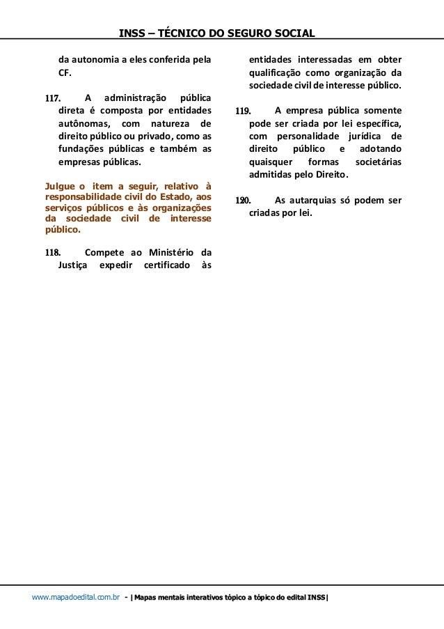 INSS – TÉCNICO DO SEGURO SOCIAL www.mapadoedital.com.br -  Mapas mentais interativos tópico a tópico do edital INSS  da au...
