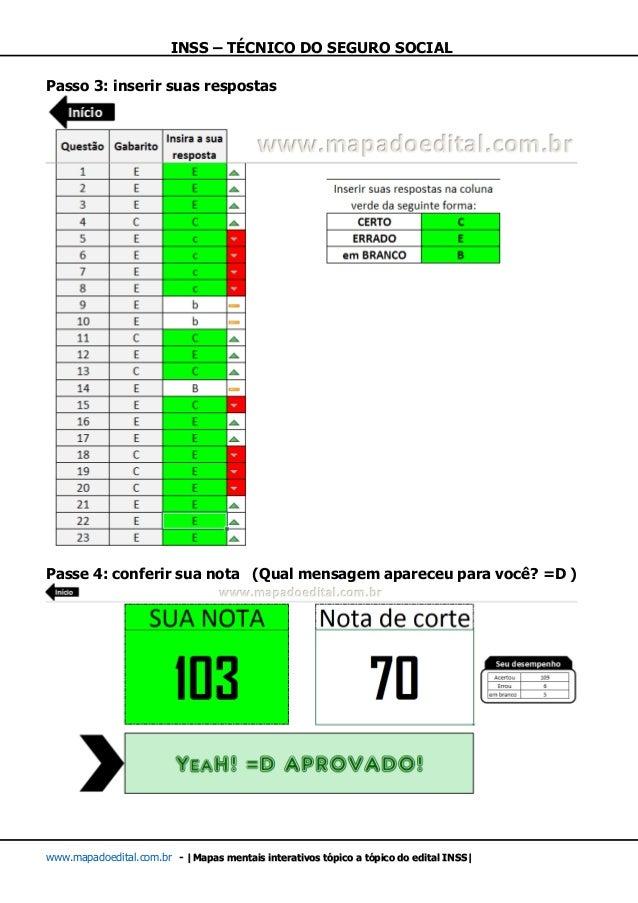 INSS – TÉCNICO DO SEGURO SOCIAL www.mapadoedital.com.br -  Mapas mentais interativos tópico a tópico do edital INSS  Passo...