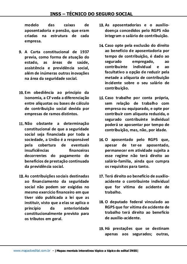 INSS – TÉCNICO DO SEGURO SOCIAL www.mapadoedital.com.br -  Mapas mentais interativos tópico a tópico do edital INSS  model...