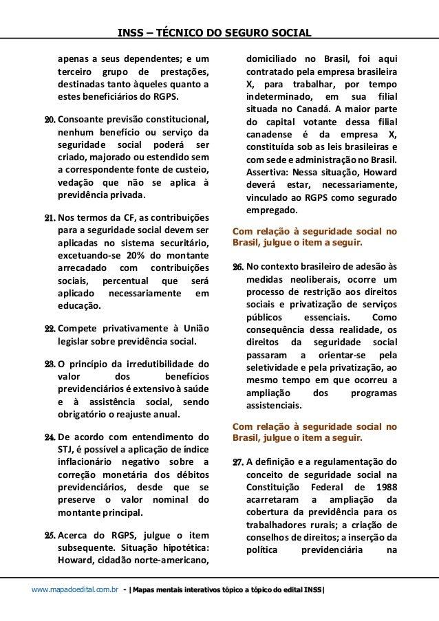 INSS – TÉCNICO DO SEGURO SOCIAL www.mapadoedital.com.br -  Mapas mentais interativos tópico a tópico do edital INSS  apena...