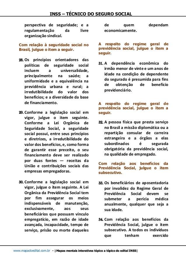 INSS – TÉCNICO DO SEGURO SOCIAL www.mapadoedital.com.br -  Mapas mentais interativos tópico a tópico do edital INSS  persp...