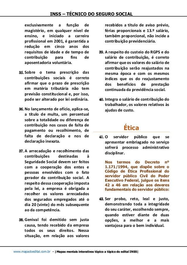 INSS – TÉCNICO DO SEGURO SOCIAL www.mapadoedital.com.br -  Mapas mentais interativos tópico a tópico do edital INSS  exclu...