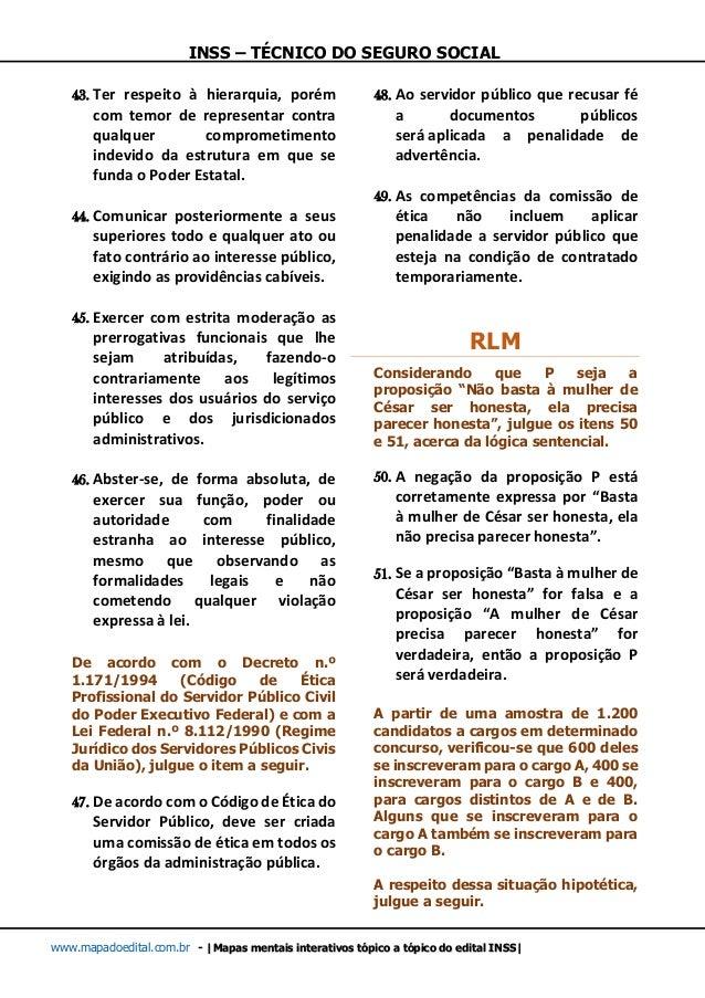 INSS – TÉCNICO DO SEGURO SOCIAL www.mapadoedital.com.br -  Mapas mentais interativos tópico a tópico do edital INSS  43. T...