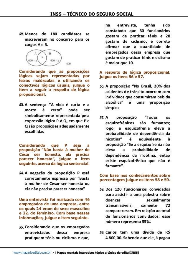 INSS – TÉCNICO DO SEGURO SOCIAL www.mapadoedital.com.br -  Mapas mentais interativos tópico a tópico do edital INSS  52. M...
