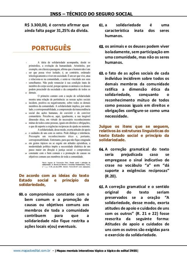 INSS – TÉCNICO DO SEGURO SOCIAL www.mapadoedital.com.br -  Mapas mentais interativos tópico a tópico do edital INSS  R$ 3....