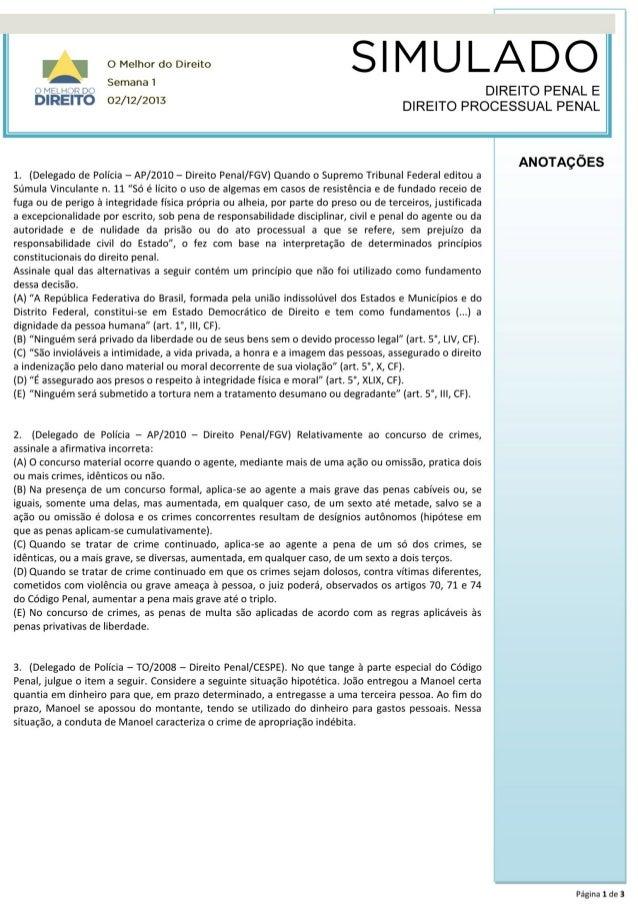 Simulado Direito Penal e Processo Penal - Semana 1