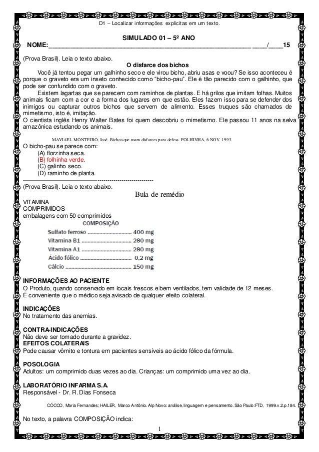 9f7bffdd3 D1 – Localizar informações explicitas em um texto. 1 SIMULADO 01 – 5º ANO  NOME ...