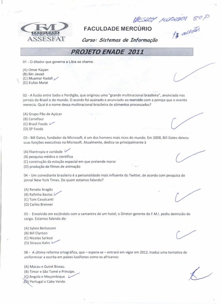 FACULDADE MERCÚRIO                                         Curso: Sistemas de Informação                                  ...