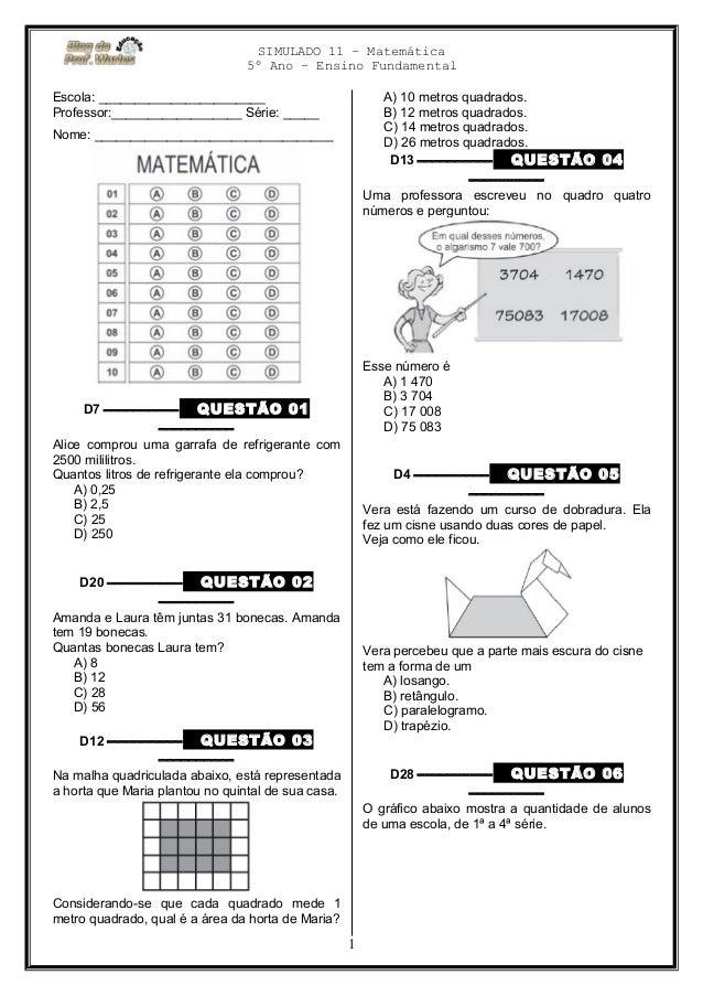 Fabuloso Simulado 11 (matemática 5º ano) blog do prof. Warles BH98