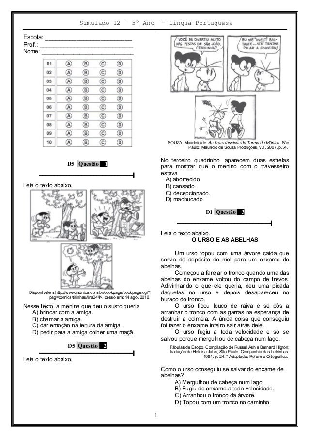 Simulado 12 – 5º Ano - Lingua Portuguesa Escola: _________________________ Prof.: ___________________________ Nome: ______...