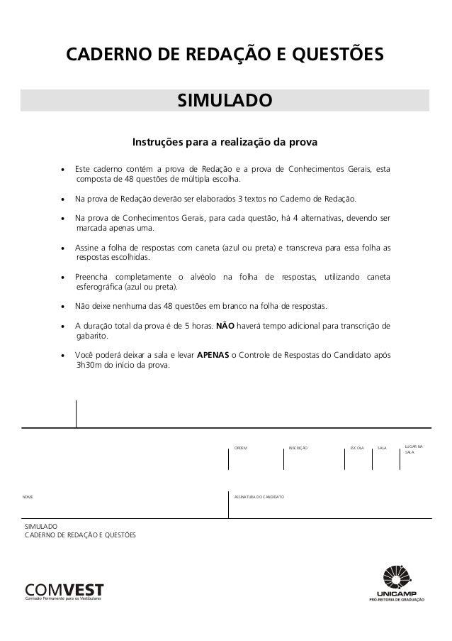 CADERNO DE REDAÇÃO E QUESTÕESSIMULADOInstruções para a realização da prova Este caderno contém a prova de Redação e a pro...