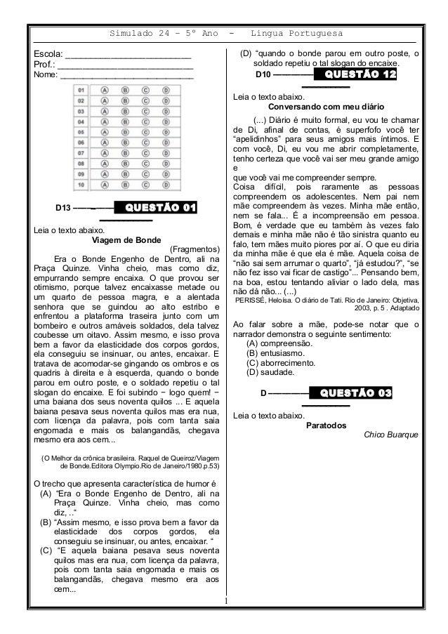 Simulado 24 – 5º Ano - Lingua Portuguesa Escola: _________________________ Prof.: ___________________________ Nome: ______...
