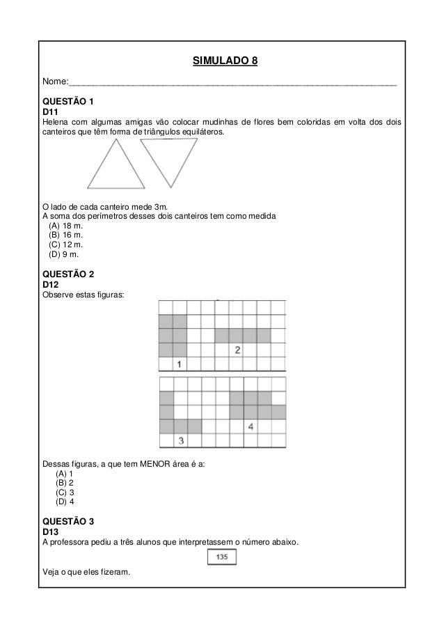 Simulados De Matemática 5º Ano Proeb