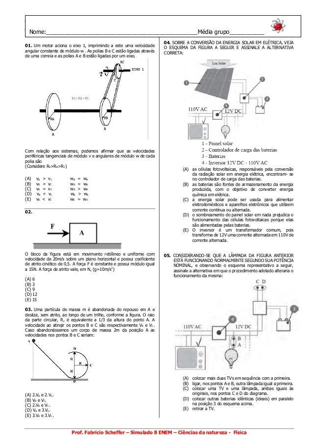 www.fisicafabricio.com.br 01. Um motor aciona o eixo 1, imprimindo a este uma velocidade angular constante de módulo w . A...
