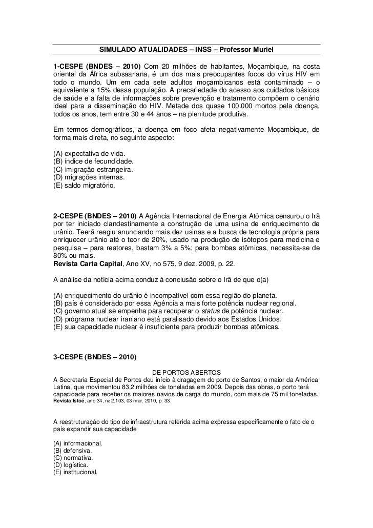 SIMULADO ATUALIDADES – INSS – Professor Muriel1-CESPE (BNDES – 2010) Com 20 milhões de habitantes, Moçambique, na costaori...