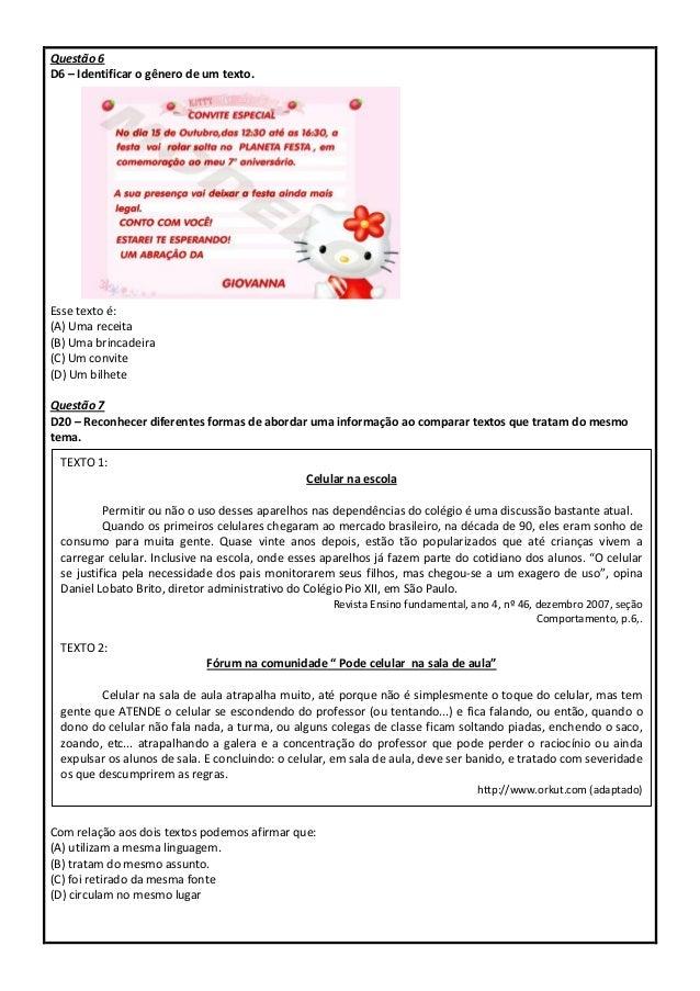 Simulado com descritores PROEB português 5º ano Slide 3