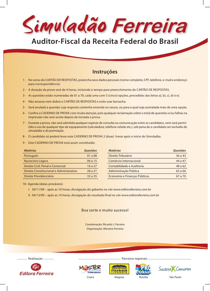 Auditor-Fiscal da Receita Federal do Brasil                                                       Instruções 1 - No verso ...