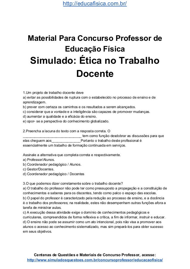 Simulado Concurso Professor De Educacao Fisica Questoes